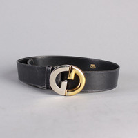 80s GUCCI Logo BELT / Silver & Gold Logo Buckle Navy Leather