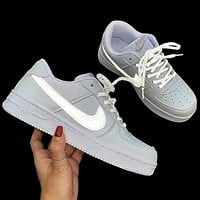 Nike Air Force 1 Low classic men's and women's luminous hook lace sneakers shoes White