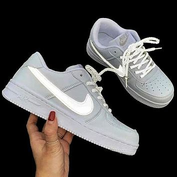 Onewel Nike Air Force 1 Classic Hot Sale Women Men  Glowing hook laces White