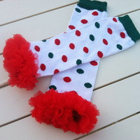 DIY Baby Girls Christmas Polka Dot Leg Warmers with Red Chiffon Ruffle-Polka Dot Leg Warmers with Ruffle-Sz 6mo-8yrs