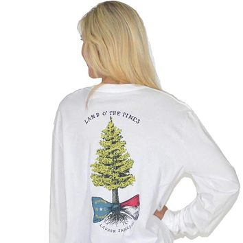 Land o' the Pines Long Sleeve Tee in White by Lauren James