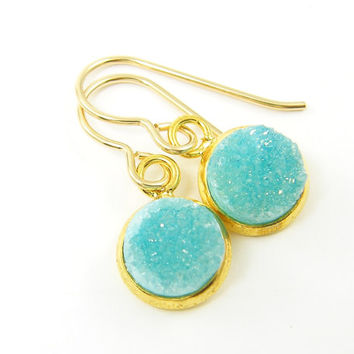 Aqua Druzy Earrings, Turquoise Gold Drop Earrings Gold Trimmed Dangle Jewelry