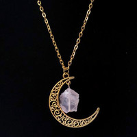 Sailor Moon Necklace ~Sun And Moon ~60cm Natural Stone Crystal Amethyst Tourmaline Necklace  9