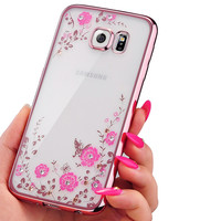 Luxury Plating Secret Garden Soft Case For Samsung S3 S4 S5 S6 S7 Edge Plus Flowers Diamond Lace Gilded TPU Silicone Shell Cover