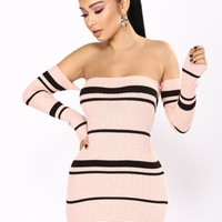 Sherlyn Stripe Dress - Pink/Black