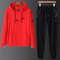 ADIDAS 2018 autumn and winter wear men's hooded long-sleeved sweater trousers sportswear two-piece Red