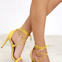 All the Applause Yellow Suede Lace-Up Heels