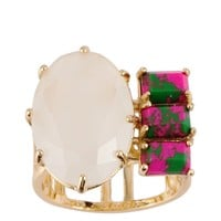 Les Néréides GEOMETRICAL FINERY WHITE,MARBLED GREEN AND PINK STONE RING