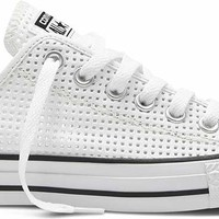 Converse Chuck Taylor All Star Shoes Perforated Canvas Ox for Women in White 551625F