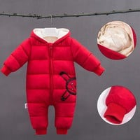 Cute Infant Baby Girl Winter Coat Solid Color Casual Snowsuit Baby Clothes Baby Boy Clothes Winter Hooded Cotton-Padded Clothes