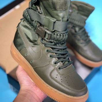 DCCK N402 Nike air force 1 Double button function shoe side zipper leisure high top shoes Green