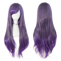 "MapofBeauty 26"" Wavy Mixed Color Flat Bang Lolita Costume Cosplay Wig"