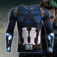 Avengers: Infinity War Captain America  3D Printed T shirts Men Compression Shirts Crossfit Tops For Male Cosplay Costume