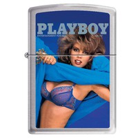 Zippo 1201 Classic Brushed Chrome Playboy Cover June 1987 Windproof Pocket Lighter