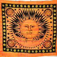 Good Morning Sun Moon Hippie Hippy indian Tapestry Wall Hanging Throw Cotton Bed cover Bohemian Decor BedSpread Ethnic Decorative Art