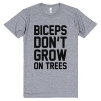 Biceps Don't Grow On Trees-Unisex Athletic Grey T-Shirt