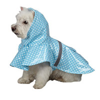 East Side Collection 10-Inch PU and Polyester Polka Dot Dog Rain Jacket, X-Small, Blue