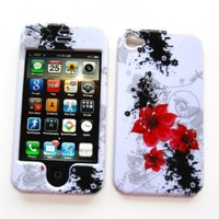 """Apple iPhone 4 & 4S Snap-on Protector Hard Case Image Cover """"Artistic Red Flowers"""" Design"""