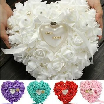 Elegant Rose Wedding Favors Heart Shaped Gift Ring Box Pillow Cushion Decoration  [7981851847]