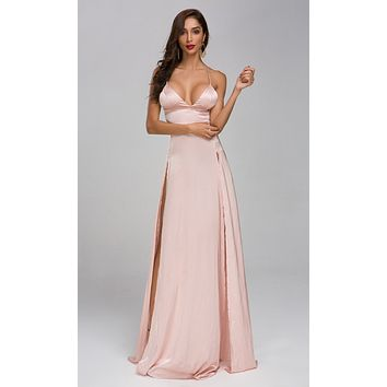 To The Moon Pink Satin Sleeveless Spaghetti Strap V Neck Double Split Maxi Dress
