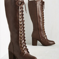 Picking Up Steampunk Boot in Mahogany | Mod Retro Vintage Boots | ModCloth.com