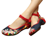 Mary Jane Chinese Embroidered Flat Ballet Ballerina Ladies Black Leather Loafers in Cotton Blue Floral Design