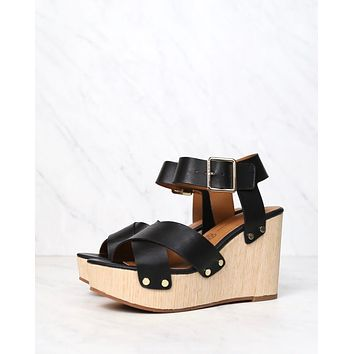 bc footwear - teeny vegan wedge sandals - black