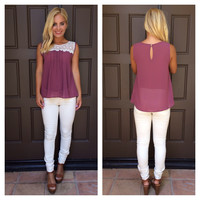 Sweetest Thing Crochet Lace Detailed Blouse - Mauve