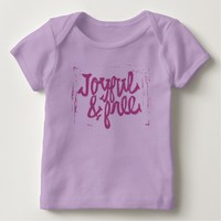 Joyful and Free Purple Hand Lettered Quote Baby T-Shirt