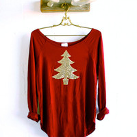 Gold Sequin Christmas Tree Wine Slouchy Tunic - Holiday Sequin Shirt