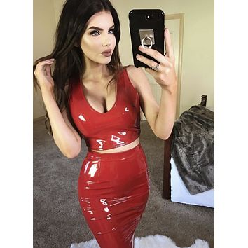 Shine Em Up Vinyl Two Piece Set in Red
