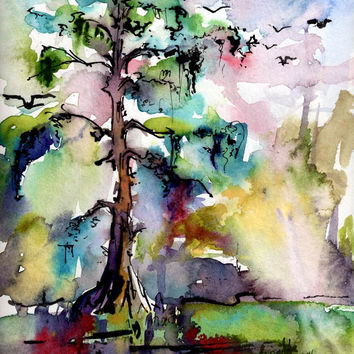 Bald Cypress Trees Watercolor Original Watercolor Painting by Ginette