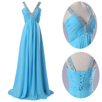 Sky Blue Deep V-Neck Beaded Lace Up Back Chiffon Maxi Evening Dress