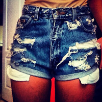 The Sarah: rolled distressed high waisted shorts