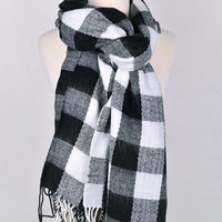 Classic Buffalo Plaid Scarf with Fringe - Black, Green or Red