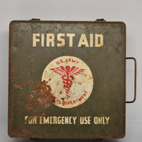 Antique Military Army First Aid Kit WWII 1940's Elizabeth Arden Industrial Medical Motor Vehicle Kit