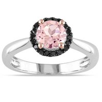 6.0mm Morganite and 1/10 CT. T.W. Enhanced Black Diamond Ring in Sterling Silver