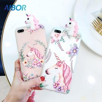 AIBOR Cartoon Cute 3D Unicorn Flower For iPhone 5 5s SE Soft TPU Phone Case For iPhone 6 6s 7 8 Plus Cover Lovely Cartoon Case