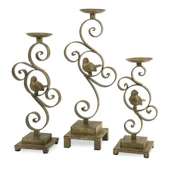 3 Candle Holders - Bird Accented