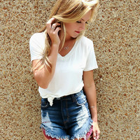 Daisy High Waisted Dark Wash Distressed Bandana Frayed Denim Shorts