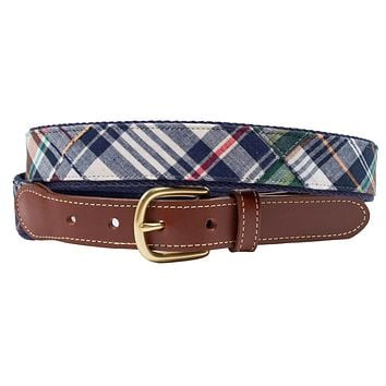 Easy Listening Patch Madras Leather Tab Belt by Country Club Prep