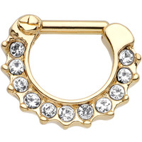 14 Gauge Gold Plated Golden Royal Parade Clear Gem Septum Clicker   Body Candy Body Jewelry