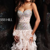 Strapless Ruffled Dress by Sherri Hill