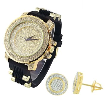 Men's Hip Hop  Dial Gold Finish Dial Watch Silicone Strap & Matching Earrings Combo