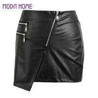 Fall Sexy Women PU Leather Skirt Front Zipper Split OL Pencil Skirts Solidcolor Bodycon Short Mini Skirt Tight Skirt Black