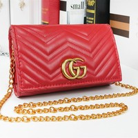 GUCCI Fashion New Leather Chain Leisure Shopping Shoulder Bag Women Red