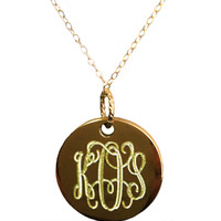 Monogrammed Gold Tone Kate Necklace | Necklaces | Marley Lilly