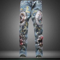 Winter Strong Character Ripped Holes Men's Fashion Pants Embroidery Denim Jeans [6542578051]