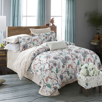 Chinese classical gorgeous style bedspread linens flower print beige bedding sets cotton Queen Double size comforter set