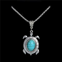 Silver Pendant Turquoise Necklaces collier Tortoise/Turtle collana Necklace for Gifts Sweater Necklace